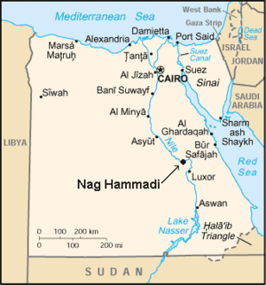 The site of discovery, Nag Hammadi in map of Egypt