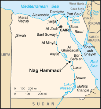Nag Hammadi library - The site of discovery, Nag Hammadi in map of Egypt
