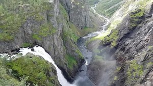 A video of Voringsfossen showing the volume of waterfall in summer