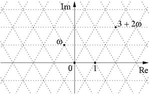 Eisenstein integer - Eisenstein integers as intersection points of a triangular lattice in the complex plane