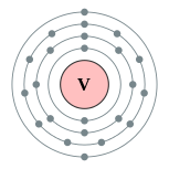 Electron shells of vanadium (2, 8, 11, 2)