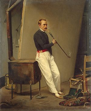 Horace Vernet - Self-Portrait with Pipe (1835)