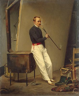 Horace Vernet - Horace Vernet, Self-Portrait with Pipe, 1835