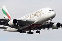 Emirates A380 landing at London Heathrow.jpg