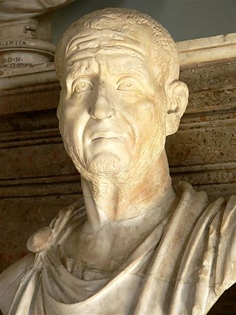 "A marble bust of the Roman Emperor Decius from the Capitoline Museum. This portrait ""conveys an impression of anxiety and weariness, as of a man shouldering heavy [state] responsibilities"". Emperor Traianus Decius (Mary Harrsch).jpg"