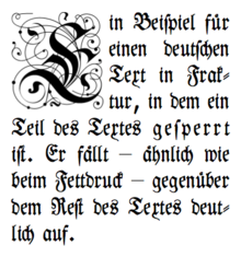An example of sperrsatz   Note wider spacing of the word gesperrt    Storybook Drop Cap Font