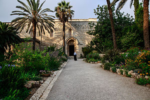 Abu Ghosh - Entrance to Crusader church in Abu Ghosh