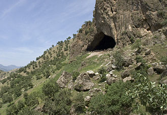 Iraqi Kurdistan - Shanidar Cave, surrounded by Mediterranean vegetation.