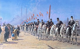 Fausto Zonaro - Il reggimento imperiale di Ertugrul sul ponte di Galata (The Imperial Regiment of the Ertugrul on the Galata Bridge)