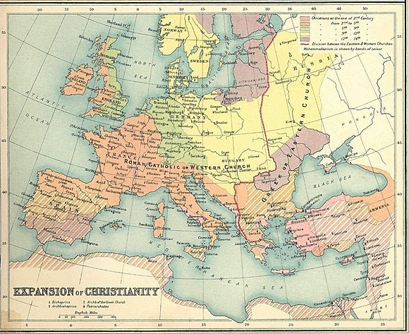Schism of 1054 (East-West Schism) in Christianity, the predominant religion in Europe at the time Expansion of christianity.jpg