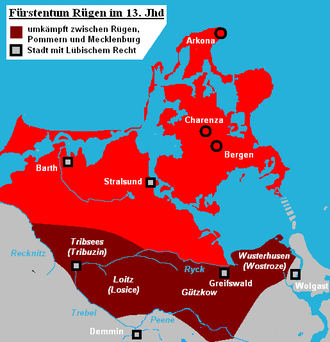 Principality of Rügen - 13th century borders of the principality of Rügen