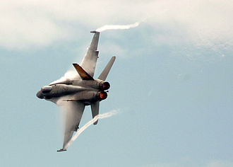 Wingtip vortices - Vortices shed at the tips and from the leading-edge extensions of an F/A-18