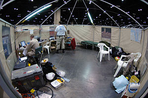 Aid station - Inside a Disaster Medical Assistance Team aid station.