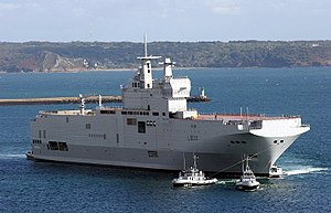 Mistral-class amphibious assault ship - Mistral shortly after launching