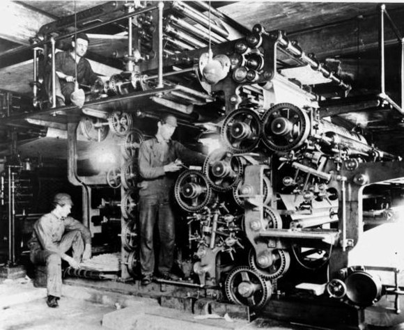 The pressroom in 1911.