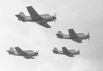 Fairey Gannet AEW.3 - A section of four Gannets during the 1961 Farnborough Airshow.