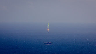 Falcon 9 first-stage landing tests - Image: Falcon 9 first stage attempts landing on ASDS after CRS 6 (17170624412)