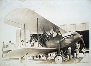 Luis Farell - Luis Farell taking friends on a joyride on his WACO-10, a present from the President.