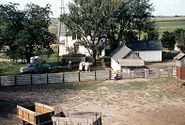 Farm house and Barn yard, Marion County, IA, 1957