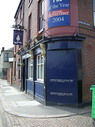 Neepsend - The Fat Cat pub showing the relative heights of the 1864 and 2007 floods.