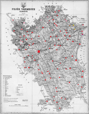 Fejér County (former) - Ethnic map of Fejér county according to the data of the 1910 census. Key: red - Hungarians; pink - Germans; light green - Slovaks; light blue - Croatians; dark blue - Serbs. Coloured dots in a plain rectangle imply the presence of smaller minority populations (generally more than 100 people or 10%). Multicoloured rectangles imply cities and villages with multi-ethnic populations with the order of the stripes following the ethnic composition of the settlement.