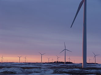 Wind power in Minnesota - Fenton wind farm at sunrise
