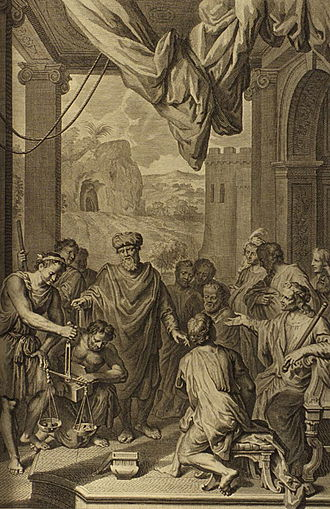 Chayei Sarah - Abraham Weighs Silver (illustration from the 1728 Figures de la Bible)