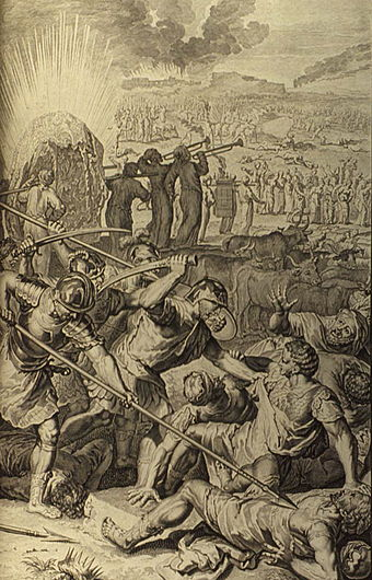Five kings of Midian slain by Israel (illustration from the 1728 Figures de la Bible) Figures Five Kings of Midian Slain by Israel.jpg