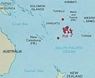 Geography of Fiji - Fiji's location in Oceania