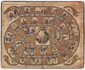 The Mansion of Happiness - The sixty-seven space spiral track of The Mansion of Happiness (1843) depicts various Christian virtues and vices.