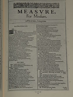 Facsimile of the first page of Measure for Measure from the First Folio, published in 1623