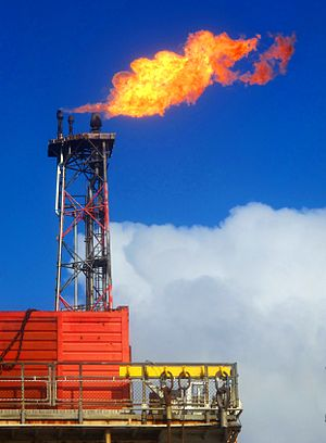 Gas flare - Flaring gases from an oil platform in the North Sea.
