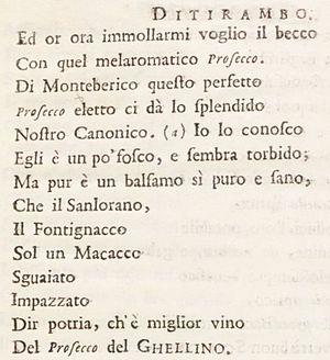 """Prosecco - The first use of the word """"Prosecco"""" in """"Il Roccolo Ditirambo"""" (1754)"""