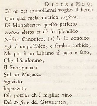 Prosecco - The first known use of the word Prosecco in Italian, Il Roccolo Ditirambo (1754).