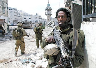 Second Intifada - Israeli soldiers in Nablus, during Operation Defensive Shield