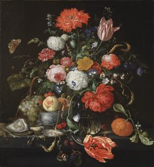 Flower Still Life with a Bowl of Fruit and Oysters