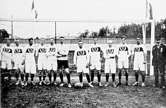 Hans Reese - German 1912 Olympic football team—Karl Burger, Hans Reese, Gottfried Fuchs, Otto Thiel, Walter Hempel, Adolf Werner, Fritz Förderer, Emil Oberle, Karl Uhle, Dr. Josef Glaser, Camillo Ugi