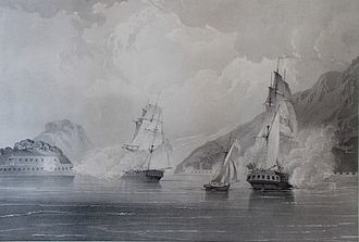 Battle of Kowloon - The cutter Louisa (centre) in 1834