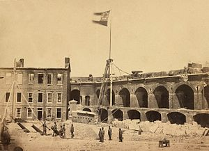 South Carolina in the American Civil War - Fort Sumter, 1861, flying the Confederate flag after the fort's capture from the U.S. by the Confederacy.