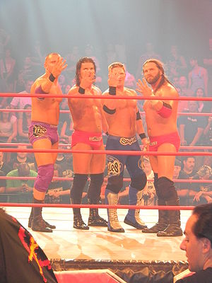Beer Money, Inc. - Fortune: (from left to right) Desmond Wolfe, Roode, A.J. Styles and Storm.