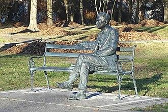 Jerzy Różycki - Jerzy Różycki memorial bench in Wyszków, near Warsaw