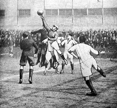 Illustration of Belgium's game against France in April 1918: some of such unofficial wartime matches served as charity fundraisers. France-Belgium 1918-04-21.jpg