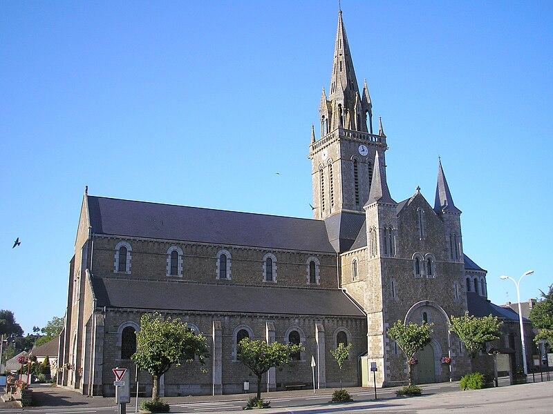 Sourdeval (Normandie, France). L'église.