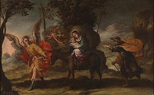 Francisco Antolínez - Flight into Egypt, oil on panel, 45 by 73 cm, undated, now in the Museo del Prado in Madrid