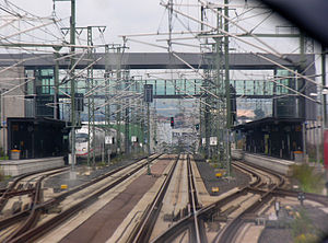 Limburg Süd station - View from the cab of an ICE in Limburg Süd running to Cologne