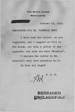 Franklin D. Roosevelt to Vannevar Bush - NARA - 194882.jpg