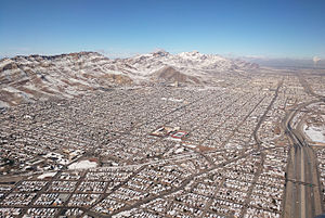 Austin High School (El Paso, Texas) - Austin High School (center) and surrounding areas of El Paso and the Franklin Mountains with snow from winter storm Goliath