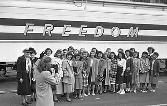 Freedom Train - The Susan B. Anthony Club of Los Angeles gathers for a photograph in front of the Freedom Train in February 1948