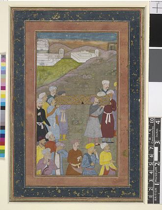 Death of Alexander the Great - Funeral of Iskander (Alexander): pallbearers carry his coffin draped with brocaded silk and his turban at one end. In Nizami's version Iskandar fell ill and died near Babylon. Because it was believed he had been poisoned, no antidotes could revive him.