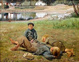 Randers Museum of Art - Image: Gåsevogterne ved gadekæret i landsbyen Ring
